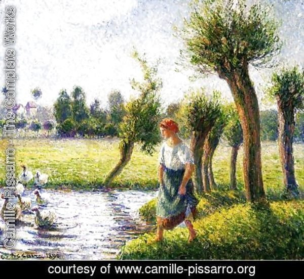 Camille Pissarro - Peasant Woman Watching the Geese