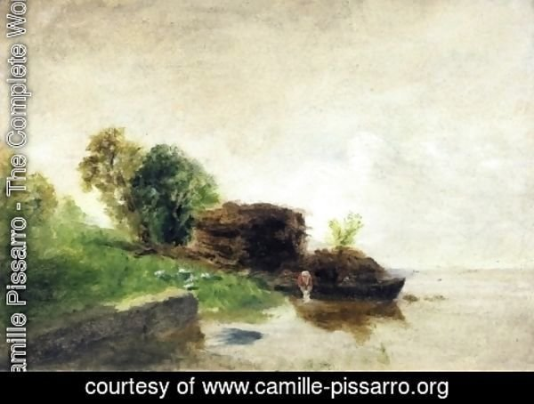 Camille Pissarro - Laundress on the Banks of the River