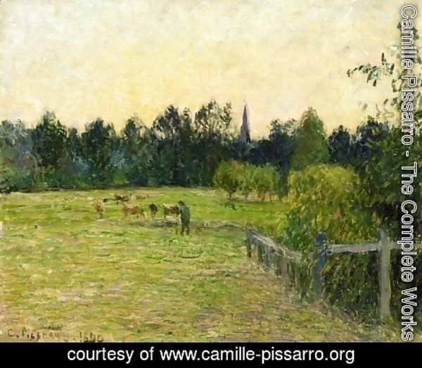 Camille Pissarro - Cowherd in a Field at Eragny