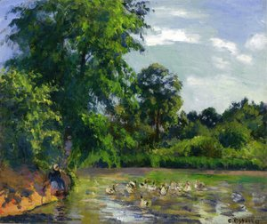 Camille Pissarro - Ducks on the Pond at Montfoucault