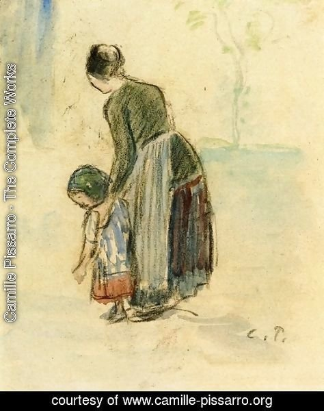 Camille Pissarro - Peasant and Child