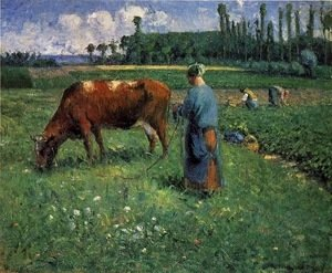 Camille Pissarro - Girl Tending a Cow in a Pasture