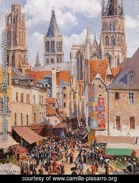 Camille Pissarro - The Old Market and the Rue de l'Epicerie in Rouen