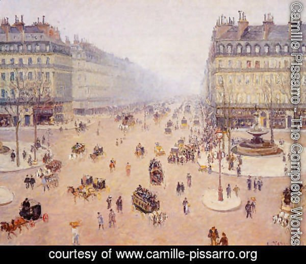 Camille Pissarro - Avenue de l Opera Place du Thretre Francais Misty Weather 1898