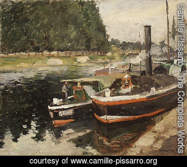 Camille Pissarro - Barges at Pontoise 1876