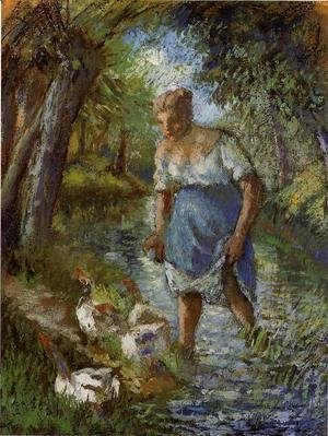 Camille Pissarro - Peasant Crossing a Stream 1894