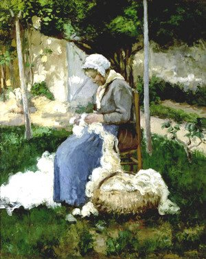 Peasant Woman Combing Wool
