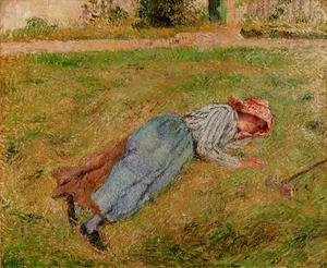 Camille Pissarro - Resting Peasant Girl Lying on the Grass Pontoise  1882