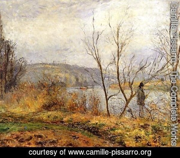 Camille Pissarro - The Banks of the Oise Pontoise (aka Man Fishing)  1878