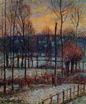 Camille Pissarro - The Effect of Snow Sunset Eragny  1895