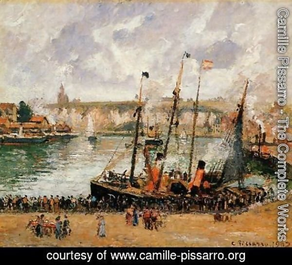 Camille Pissarro - The Inner Harbor Dpeppe High Tide Morning Grey Weather  1902