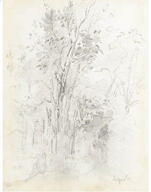 A forest with a seated figure in the foreground