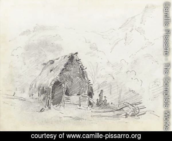 A hut in a mountainous landscape with a plough and figures