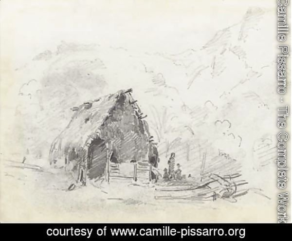 Camille Pissarro - A hut in a mountainous landscape with a plough and figures
