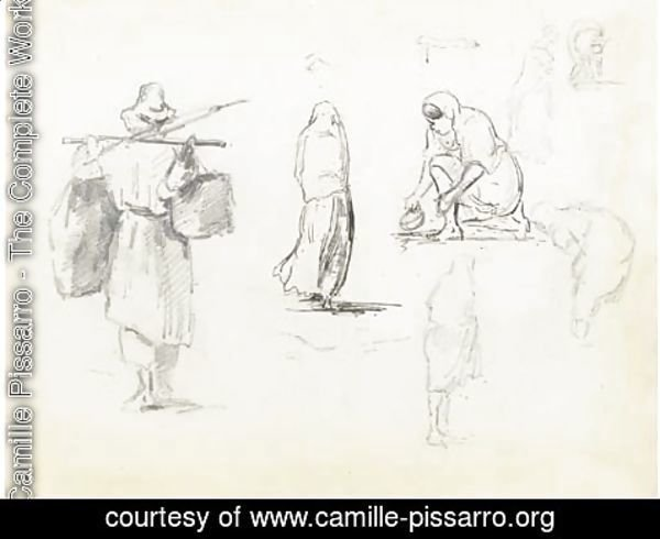 Camille Pissarro - A man carrying two bags on a pole across his shoulders, and studies of women seen from behind and bending down