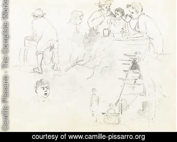 A man feeding a baby and two boys drinking at a table, a man seen from behind at a basin, two figures outside a cottage and a boy's head, Galipan