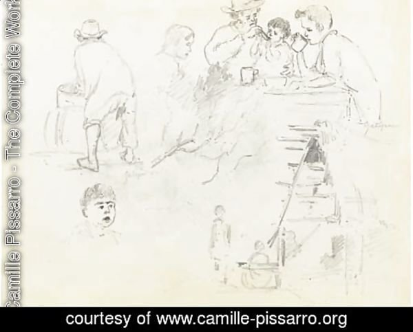 Camille Pissarro - A man feeding a baby and two boys drinking at a table, a man seen from behind at a basin, two figures outside a cottage and a boy's head, Galipan