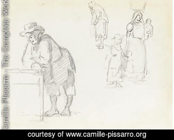 Camille Pissarro - A man in profile leaning to the left, with studies of a woman with a vase on her head holding a baby, a child and a woman in profile to the left