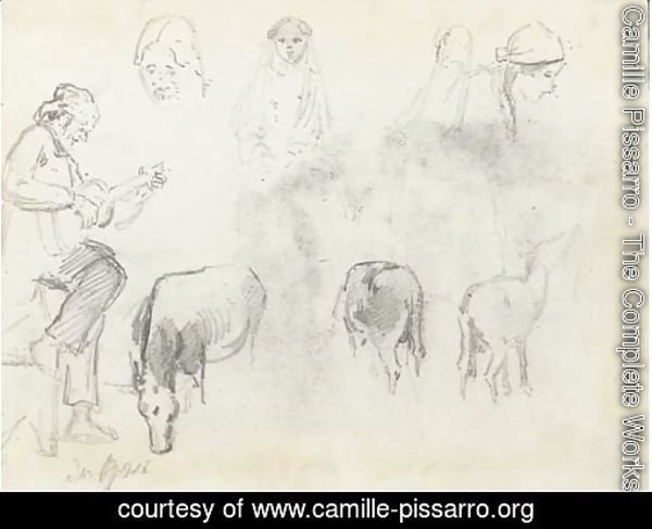 A man in profile to the left playing a guitar, studies of the heads of four women and three horses, San Jose