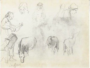 Camille Pissarro - A man in profile to the left playing a guitar, studies of the heads of four women and three horses, San Jose