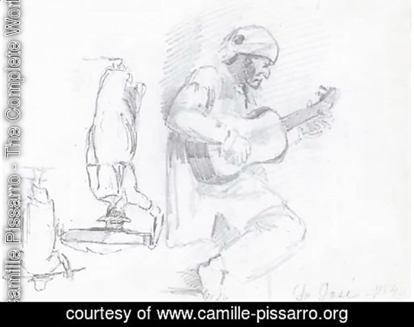 Camille Pissarro - A man in profile to the right playing a guitar, two figures seen from behind, one balancing a basket on his head