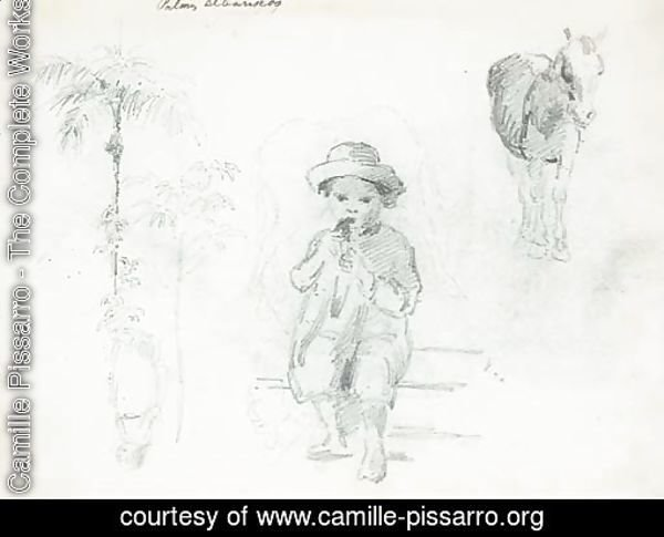 A seated boy eating, with studies of horses, palm trees and another figure