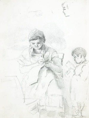 A seated woman sewing and a standing boy reading, with subsidiary studies of the woman's left arm and of the boy's head