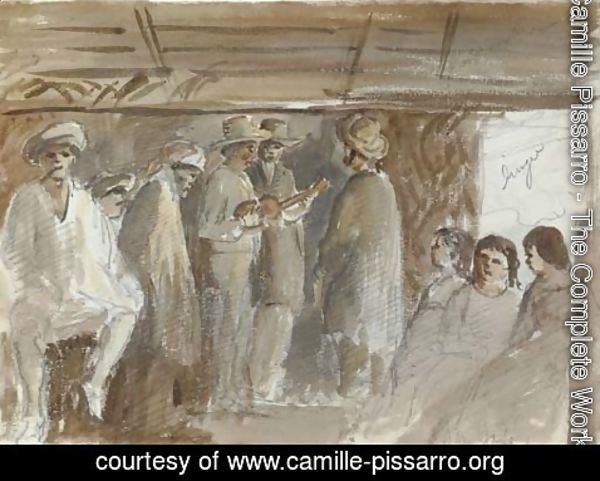 Camille Pissarro - An assembly in San Jose with two men playing guitars in an interior