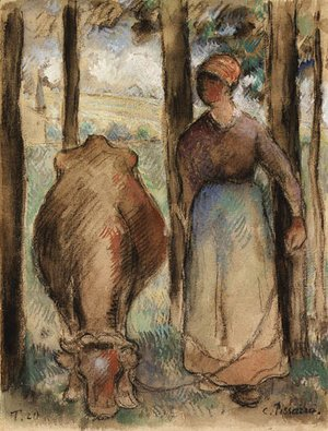 La Vachre (Young Peasant Woman and Cow)