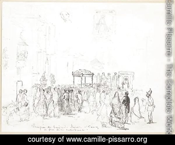 Camille Pissarro - The Good Friday procession outside the Cathedral of Caracas, with a subsidiary study of the Virgin and a woman's head
