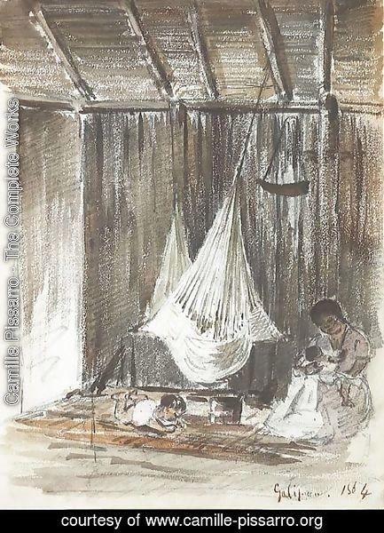 Camille Pissarro - The interior of a hut with a hammock and an Indian mother with her two children, Galipan
