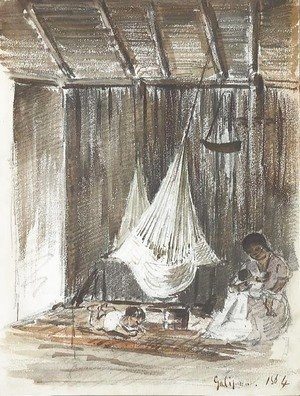 The interior of a hut with a hammock and an Indian mother with her two children, Galipan