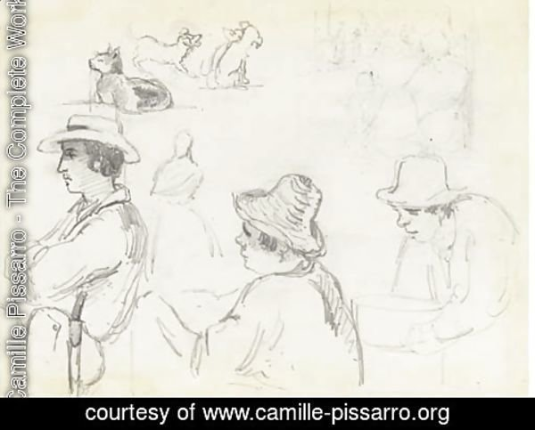 Camille Pissarro - Three men in profile to the left, one holding a basin, with studies of dogs, a cat and a group of figures