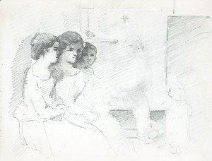 Three women seated in an interior, with a man and a baby in the background