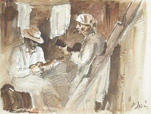Camille Pissarro - Two men playing the guitar in an interior in San Jose
