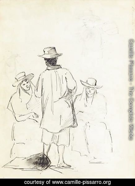 Two seated women conversing with a man seen from behind, with a study of a man carrying a bag, in profile to the left