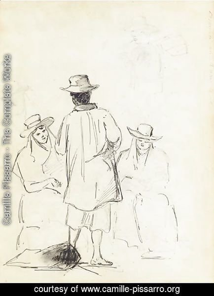 Camille Pissarro - Two seated women conversing with a man seen from behind, with a study of a man carrying a bag, in profile to the left