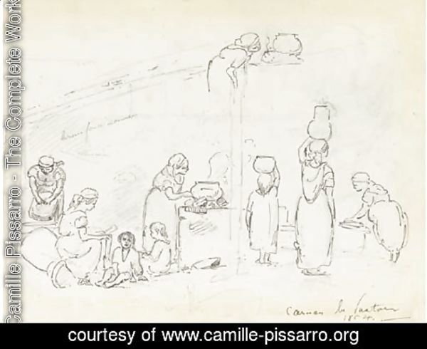 Camille Pissarro - Women cooking, washing and reading to children, and studies of two women, seen from behind, carrying vases, Caracas