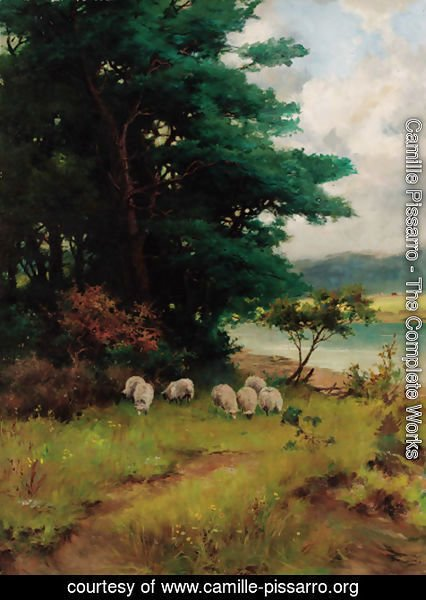 Camille Pissarro - Sheep grazing in a wooded river landscape