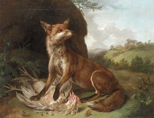A fox with a dead cockerel in a landscape