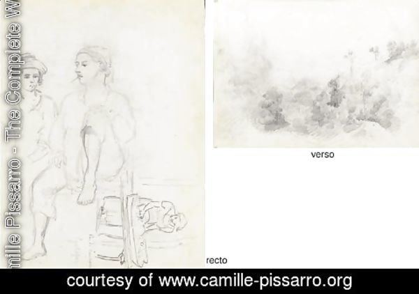Camille Pissarro - Two men, one smoking, and a woman ironing, Galipan (recto)|A wooded mountainous landscape (verso)