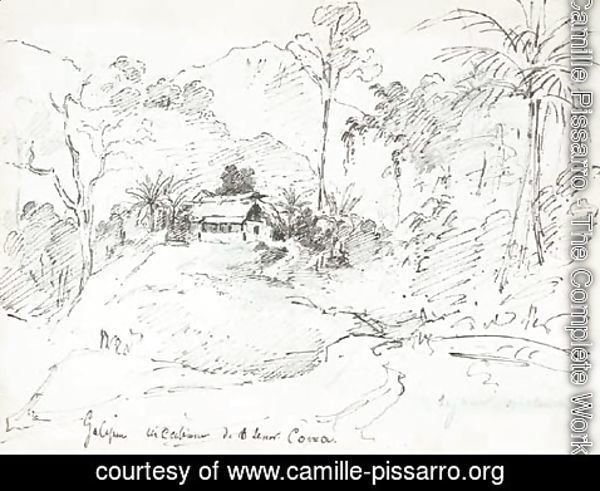 Camille Pissarro - A large house with two Indians standing in front, palm trees on the left