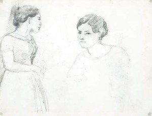 A standing woman in profile to the right
