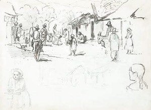 Camille Pissarro - A street scene with Indians, a subsidiary study of the same and studies of a boy and a girl seen from behind