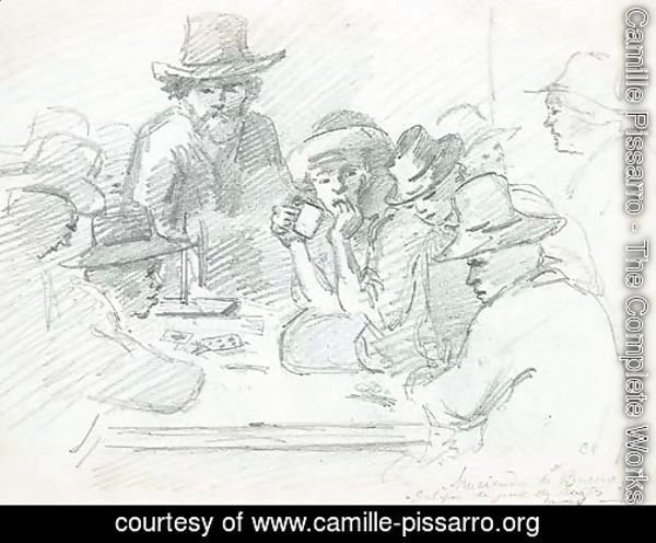 A group of Indians playing cards around a table, Galipa