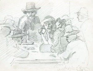 Camille Pissarro - A group of Indians playing cards around a table, Galipa