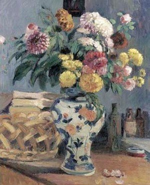 Still life with flowers in crockery vase