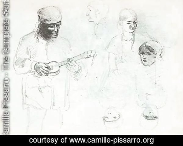 Camille Pissarro - A man playing a small guitar with studies of a woman and a boy