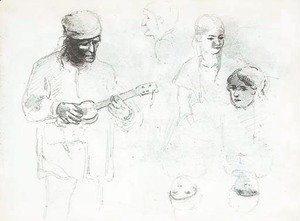 A man playing a small guitar with studies of a woman and a boy