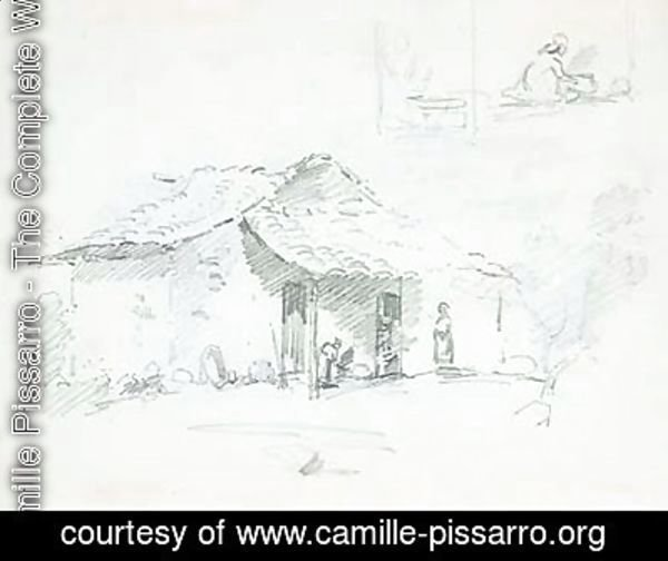Camille Pissarro - Figures in front of a hut, with studies of two figures cooking